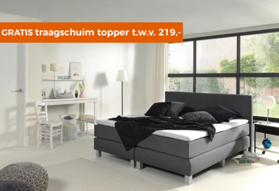 Boxspring Madrid Luxe pocketveer inclusief traagschuim topmatras t.w.v. 219,-